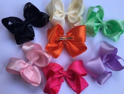 "Lot Of 7 Large 4"" Satin Boutique Hair Bow clips Ladies, Girls, Infant Pink"