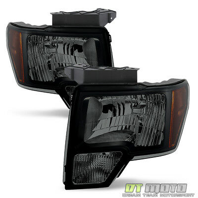Black Smoked 2009-2014 Ford F150 F-150 Headlights Lights Replacement Left+Right