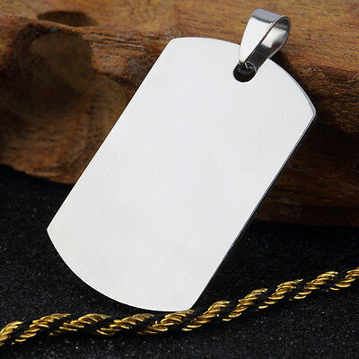 Military Men's Stainless Steel Silver Plain Dog Tag Pendant No Chain DC