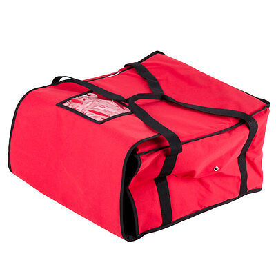 "20"" x 20"" x 12"" Vinyl Insulated Pizza Delivery Bag -  Red"