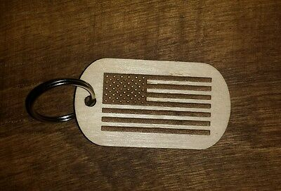 Wood dog tag, keychain, American Flag