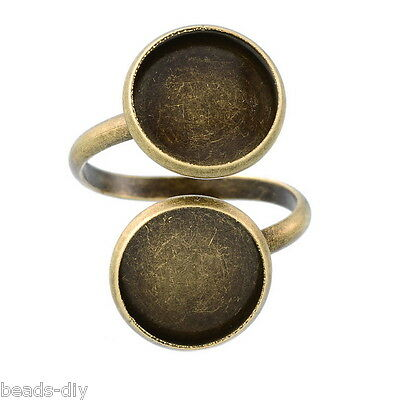 20PCs Bronze Tone Adjustable Spiral Ring Pad Bases Blanks Findings