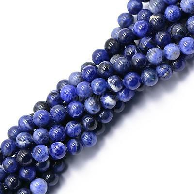 "Natural Blue Sodalite Beads Round Loose Semi Precious Gemstone Beads 15"" 4/6/8mm"