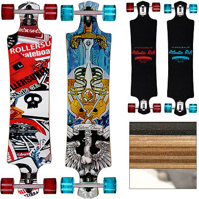 Longboard Drop Through Complete Cruiser 107cm Abec 9 Wooden Longboard - 42 Inch