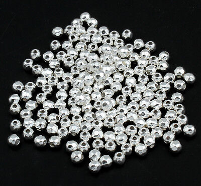 🎀 3 FOR 2 🎀 100 Silver Faceted 4mm Spacer Beads For Jewellery Making