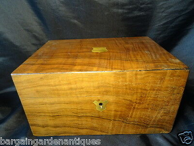 Vintage Antique Victorian Walnut Small Writing Ladies Box Red Velvet Lining