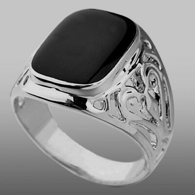 NEW Silver Plated Mens Womens Boys Onyx Signet Ring Wedding Band (Sizes K to Z3)
