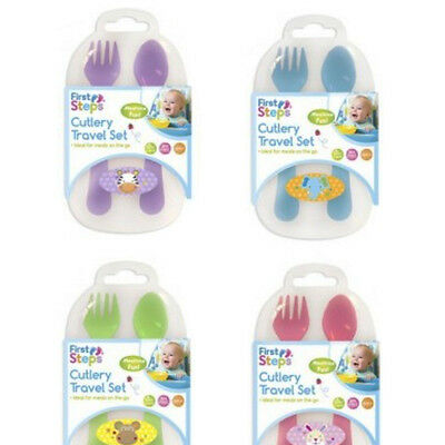First Steps Baby Toddler Travel Plastic Fork & Spoon Cutlery Set In Handy Case
