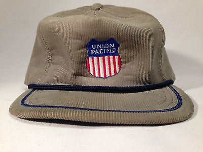 Union Pacific Corduroy Snap-Back Cap Made In USA!  Vintage!