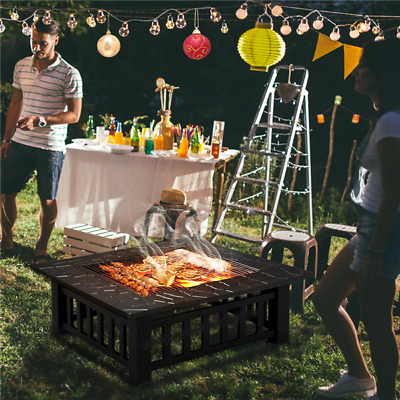 UK Outdoor Fire Pit Firepit Patio Heater Brazier Garden Square Stove Chimney BBQ