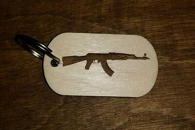 Wood dog tag, keychain, Ak47