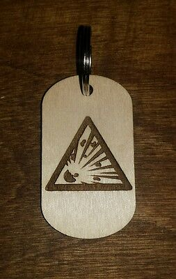 Wood dog tag, keychain, explosive