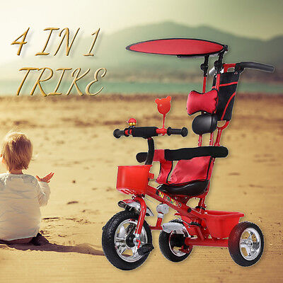 New Toddler Smart Design 4-in-1 Childrens Tricycle Kids Trike 3 Wheel Bike be