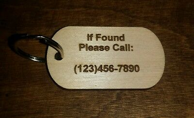 Wood dog tag, keychain, return to owner