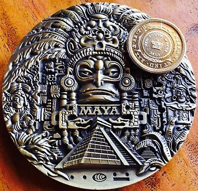 HUGE 8cm Coin Mayan Aztec Brass Collectable Medallion 8oz Capsule Aztec