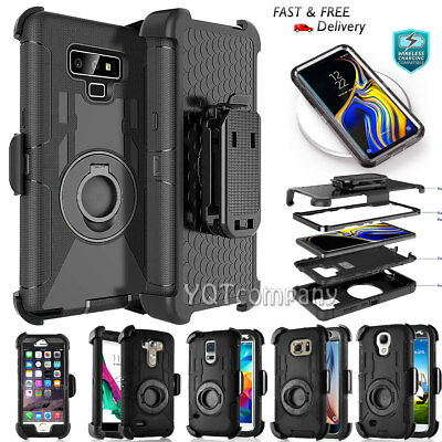 For iPhone Samsung Shockproof Rugged Hybrid Rubber Hard Phone Cover Case + Clip
