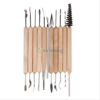 11pcs Wood Handle Clay Sculpting Wax Carving Polymer Modeling Pottery Tools Set