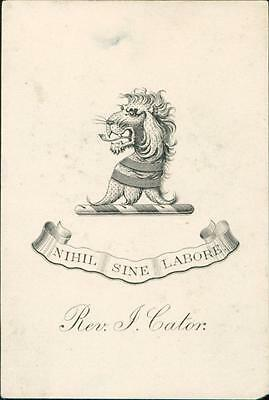 Reverend J. Cator. Lion.   Bookplate QR574