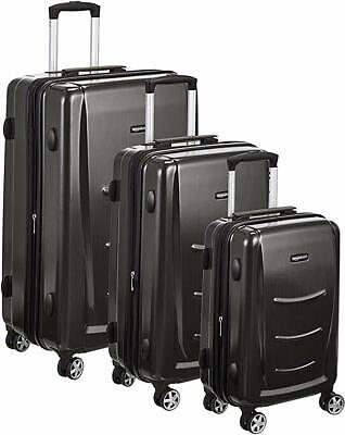 3 Pcs Suitcase Set Carry on Luggage with Spinner Wheels Travel AmazonBasics Hard