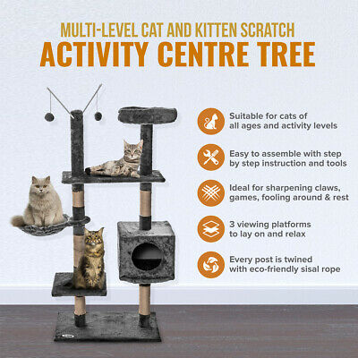 Medium Blue Kitten Cat Activity Scratcher Scratching Climbing Post Toy Fun Play