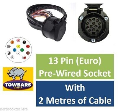 13 Pin Euro Socket Pre-Wired 2 Metres Sheathed Cable Towing Towbar Electrics