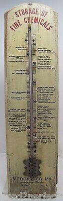 Old Merck & Co 'Storage of Fine Chemicals' Advertising Thermometer wood adv sign