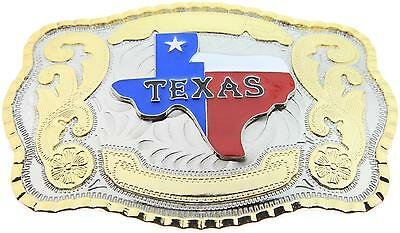 Western Texas Map Flag Large Rodeo Cowboy Belt Buckle