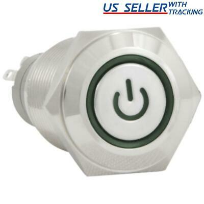 16mm 12V Latching Push Button Power Switch Aluminum Metal Green LED Waterproof