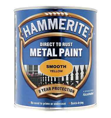 New Hammerite Direct to Rust Smooth Finish Metal Paint Yellow 250ml