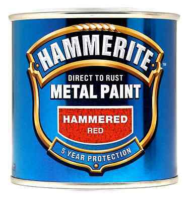 Hammerite Direct to Rust Hammered Finish Metal Paint Red 250ml