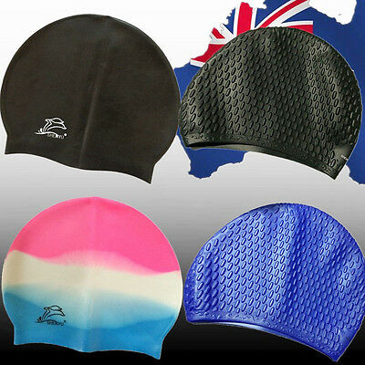 Adult Men Women Silicone Swimming Cap Swim Hat Waterproof Unisex Sports OSCAP