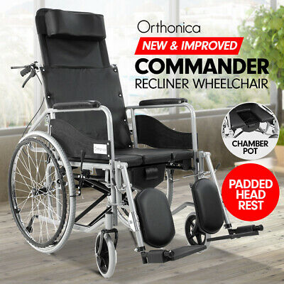 Orthonica Recliner Wheelchair 24in Manual Mobility Aid Aluminium Folding Commode