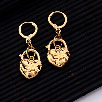 """9ct 9k Yellow """"Gold Filled"""" Ladies Beautiful Heart ,Small Earrings , 35mm """"Gift"""""""