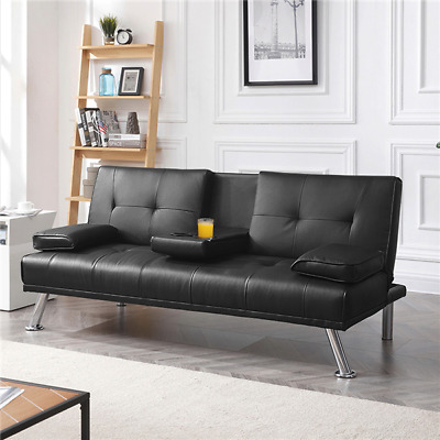 Faux Leather Sofa Bed 3 Seater Drinks Holder Modern Luxury Click Clack Sofabed