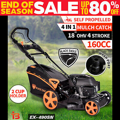 "NEW Black Eagle Lawn Mower Self Propelled 18"" 160cc 4 Stroke Petrol Lawnmower"