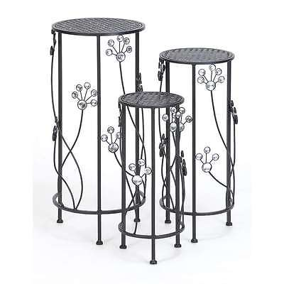 """Woodland Imports Metal Plant Stand Set/3 28"""", 24"""", 20""""H Patio Accents - 63345"""
