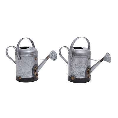 Woodland Imports Metal Galvn Water Cans w Rust, Set of 2 - 38162