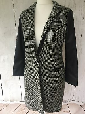 Zara Grey Wool Coat With Faux Leather Sleeves Size S_M_L Rrp £79.99