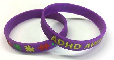 ADHD Awareness Wristband Bracelet Autism Purple Silicone Rubber Support Charity