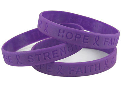 Cystic Fibrosis AWARENESS Charity Wristband Bracelet Purple silicone