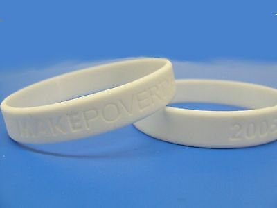 MAKE POVERTY HISTORY Charity Wrist band OXFAM white NEW Hunger Aids Earthquake