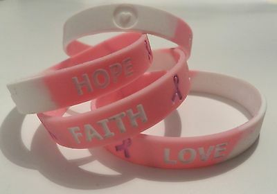 "Breast Cancer "" HOPE FAITH LOVE"" Wrist band PINK Ribbon Charity Bracelet ** NEW"