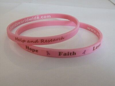 Breast Cancer Charity Pink Slim Skinny Wristband Bracelet Hope Research * NEW
