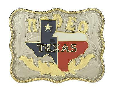 Rodeo Texas Map Western Gold Color Large Rectangle Belt Buckle