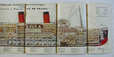PAQUEBOT ILE de FRANCE,transatlantique, french line, écorché,COUPE LONGITUDINALE
