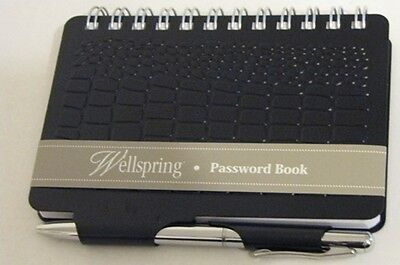 "Wellspring Password Book ""Croc""  Collection Black New With Tags"