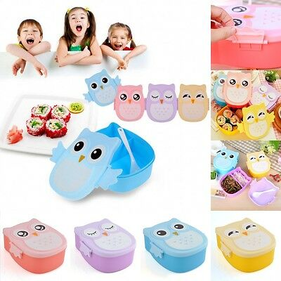 Childrens Plastic Storage Containers Lunch Bento Box Spoon Cake Sandwich Food
