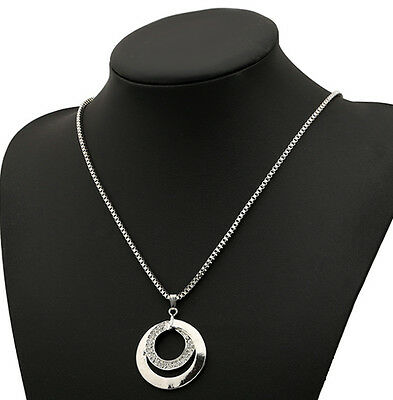 Infinity Women Jewelry Crystal Pendant Long Chain Necklace Silver Plated Fashion