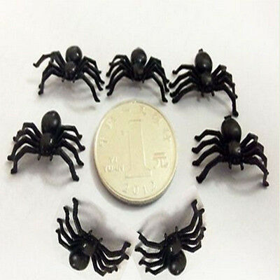 100Pcs Black Plastic Spider Halloween Party Spooky Trick Toy Decorations Prop