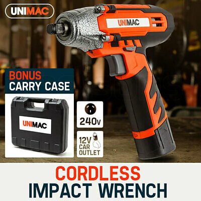 Unimac 1/2 Cordless Impact Wrench - Lithium-Ion Battery Rattle Gun Sockets